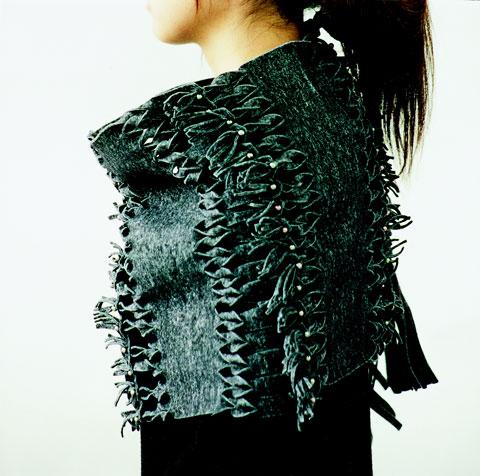 Grey fringe shawl