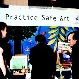 One of the over 100 art materials suppliers, publishers and other exhibitors at the 2003 Book and Trade Fair.