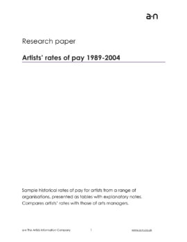 Artists rates of pay