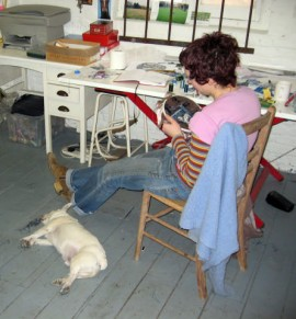 working in the studio she shares with fellow artist Naomi Leake at Occupation Studios in London
