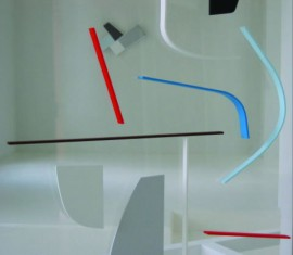 Dual Image with Red, Brown and Blue (Double-sided Perspex relief for Tramway)