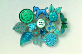 Blue Horse Collage Brooch
