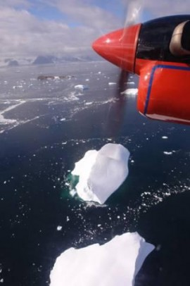 travelling out of Rothera in the twin otter Bravo Lima over Marguerite bay