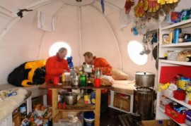 inside the melon hut where we cooked and lived