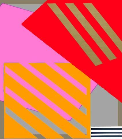 Berlin 4 Red Magenta B&W Stripes