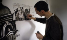 Drawing on large rolls of paper