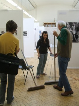 Hazel Money. At times, getting ready for the degree show was more like a peice of well choreographed performance art, complete with paint rollers and long handled brooms!