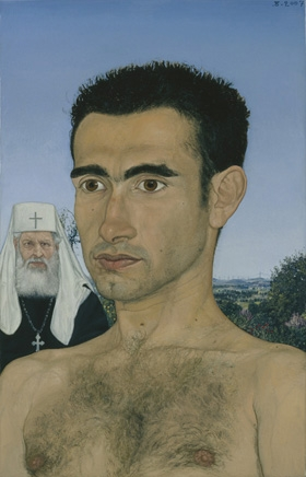 Portrait of a Serbian student of theology with Serbian Patriarch in background