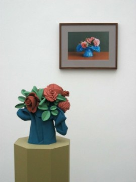 Left - Flowers in a Bag Right - Pink Roses in a Blue Bag