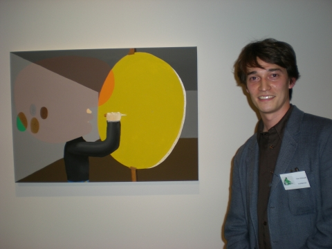John Moores winner Peter McDonald and his painting, Fontana
