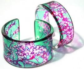 aqua pink moss cuffs