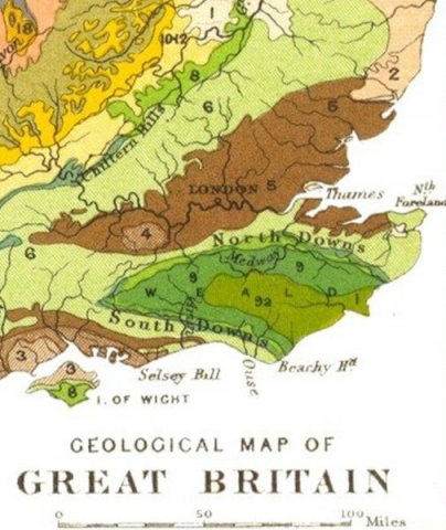 Geological map of Great Britain, detail