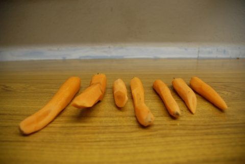 carrots shaved into unusual points (removal of frostbite