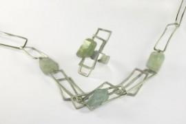 Aquamarine and geometric silver neckpiece and ring