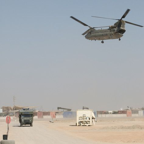 Casualties arriving at Bastion by Chinook