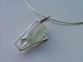 Aquamarine geometric silver pendant