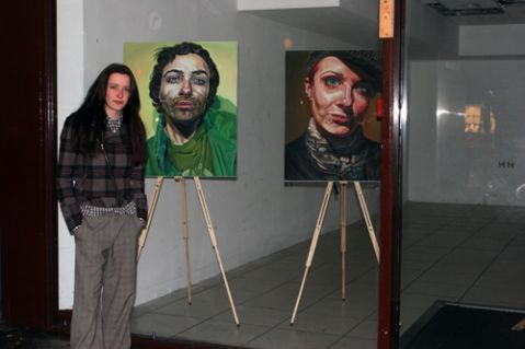 alice with two of her paintings