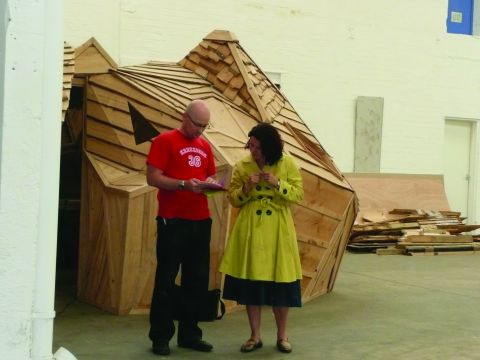 Louise Wirz and curator Gavin Wade