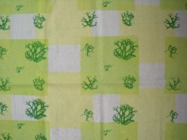 Lichen silkscreen image in stripes on top of yellow and green squares