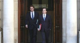 Chancellor George Osborne, alongside chief secretary to the Treasury, Danny Alexander