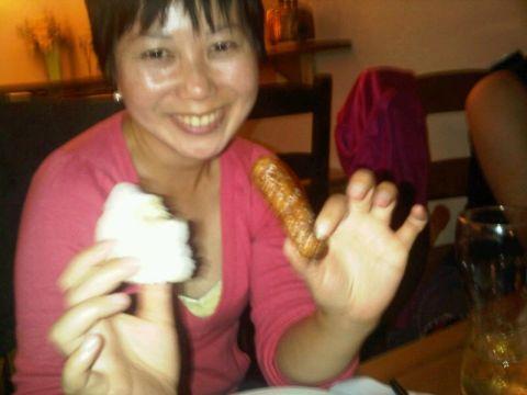 Tomoko with fifth sausage
