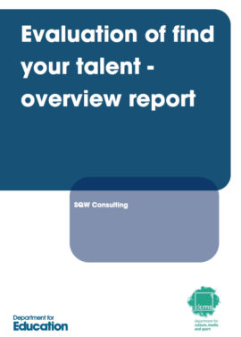 Evaluation of find your talent - overview report. Image taken from front cover of PDF.