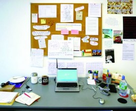 lone worker: Ellie Harrison's desk at her studio in Glasgow