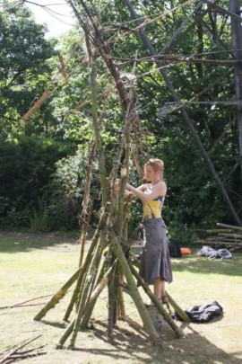 Fiona Long making 'Pylon Idol' for 'Away Day', POST artists' site-based show