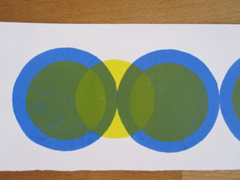 Screen print exercise in printing, registration and layering