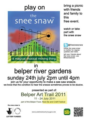 the poster for the snee snaw in belper river gardens