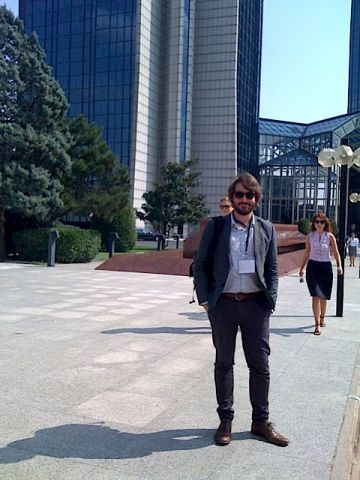 Jack Hutchinson outside the ISEA conference centre in Istanbul