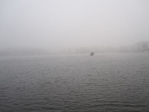 Looking across the water this morning reminded me of one of Sugimoto's seascapes