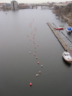 Bouys seen from the bridge over to the studio on 1st December 2011
