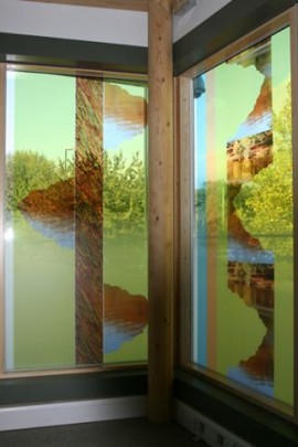 Detail of glass panels in Healthy Living Centre fitness suite
