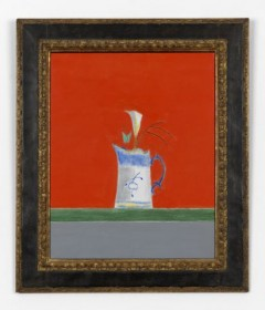 Blue Handle Vase with Iris