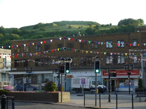 Woolly bunting in Dover's Market Square to welcome the Olympic Torch to Dover