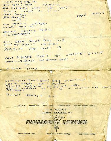 Marion's lyrical crib sheet written on a film studio letterhead