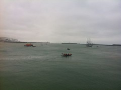 Tall ship bringing the Torch to Dover