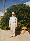 John in his anti-flash suit on Christmas Island
