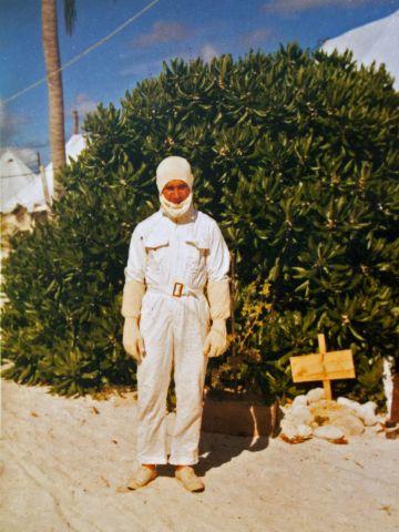 John in his anti-flash suit on Christmas Island