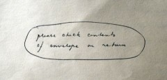 Envelope instruction for Nelson letter