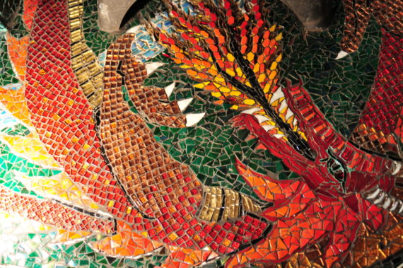 Dragon breathing fire mosaic