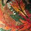 Dragon breathing fire mosaic
