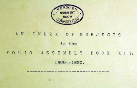 Index to the Book of Assembly 1800 - 1830