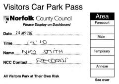 Visitor Car Park Pass