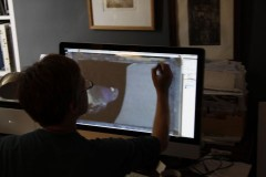 Tracing the image from the computer screen. The image is enlarged to the same size as the plate (and pane) after correcting the photograph for perspective and proportion on photoshop.