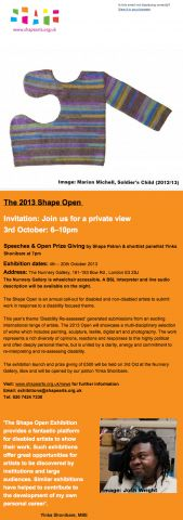 Shape Arts' exhibition poster/invite/info.