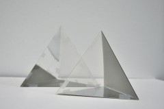 Tetrahedron maquettes in clear perspex, acetate, mirror card, May 2013.