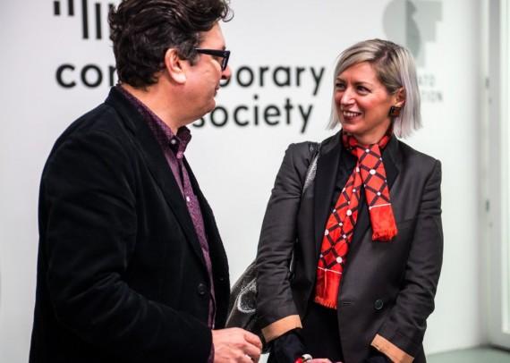 Elizabeth Price receives the award from Mark Wallinger