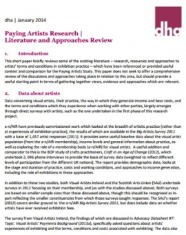 Paying Artists Research: Literature and Approaches Review